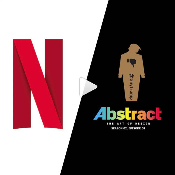 cover image consisting of Netflix logo, Abstract (show) logo, and tiny trump with text indiciating that tiny trump appears in Season 2, Episode 8 of Abstract on Netflix